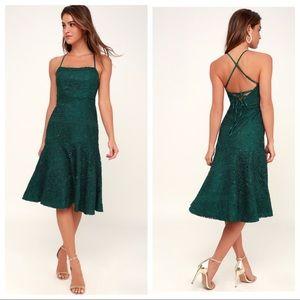 Lulus Magic Moments Midi Lace Dress Green Sz M